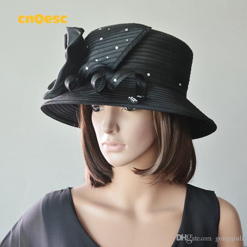 Cappello nero satinato cappello della chiesa con flowerrhinestone raso