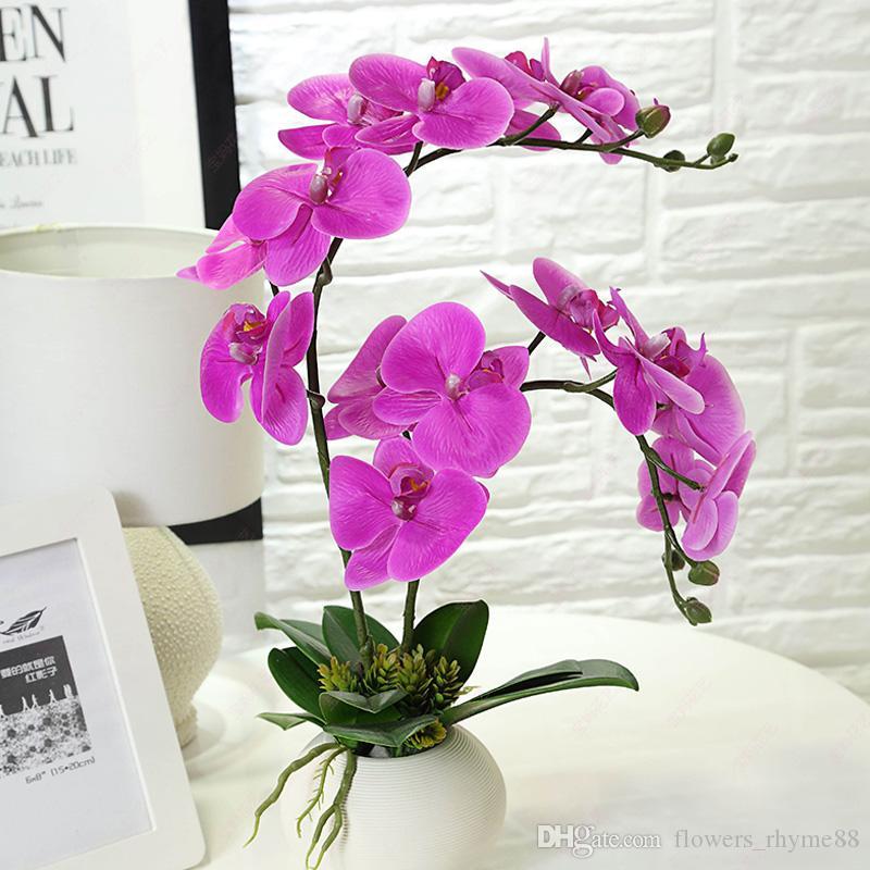 Orquídea de látex Flores Artificiais Real Toque falso flor PU material Orquídea Borboleta para Casa casa Casamento Festival Decoração Do Partido Do Hotel