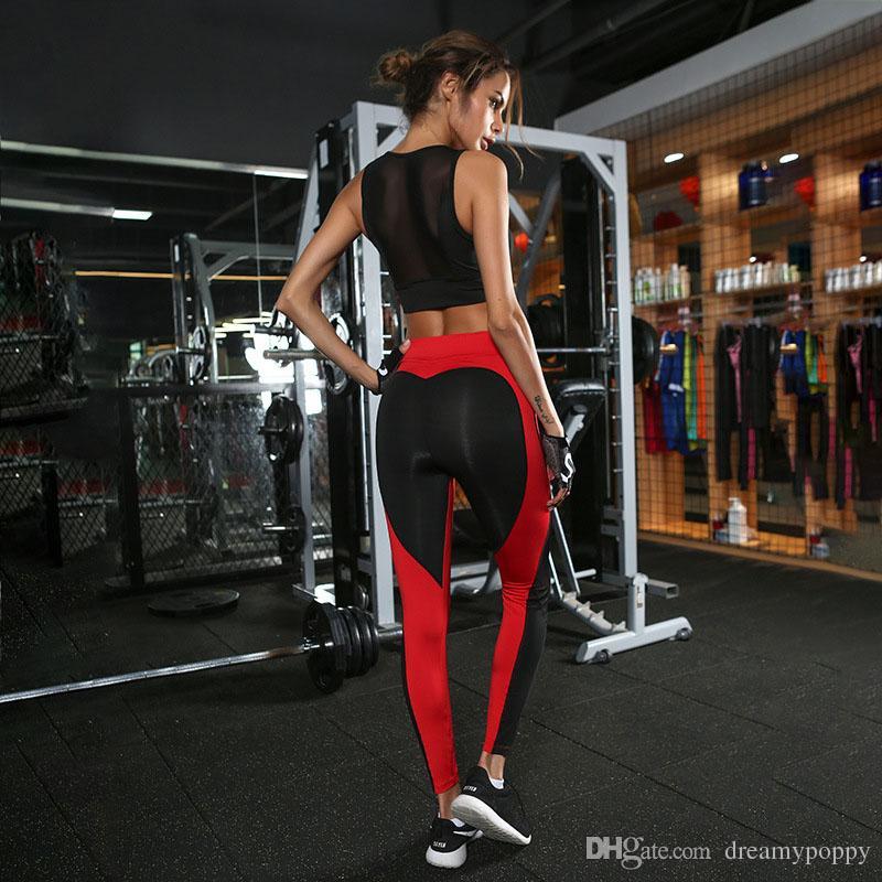 Großhandel Heißer Verkauf Frauen Sportswear Sexy Gym Kleidung Rot Schwarz Farbe Polyester Yoga Hosen Herzform Frauen Leggings Von Dreamypoppy, $16.25