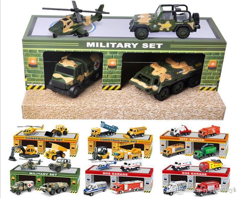 2018 Children's Toy Taxi Model Car Engineering Military Fire Police Ambulance Series Scenery Set Model Wholesale