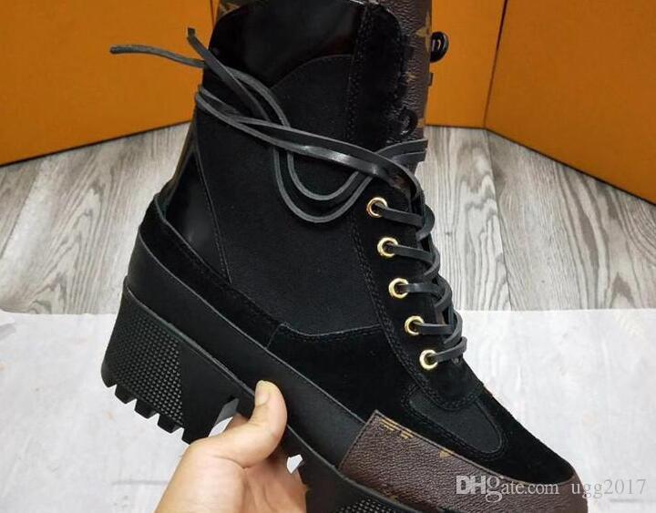 10 Arten Winterstiefel Neueste Marke Martin Frauen Stiefeletten Plattform 5 CM Chunky Heel Winter Lace Up Rindsleder Luxus Ritter Stiefel Plus Size41