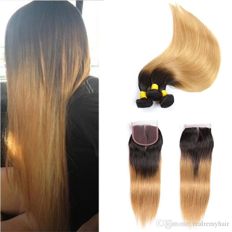 T1B 27 Dark Root Honey Blonde Straight Ombre Human Hair Weave 3 Bundles with 4x4 Lace Closure Cheap Colored Brazilian Virgin Hair Extension