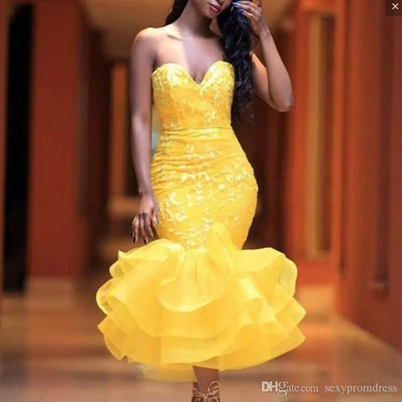Yellow Sweetheart Short Prom Dresses Lace Appliques Organza Ruffles Mermaid Evening Gowns Tea Length Cocktail Party Dress Cheap
