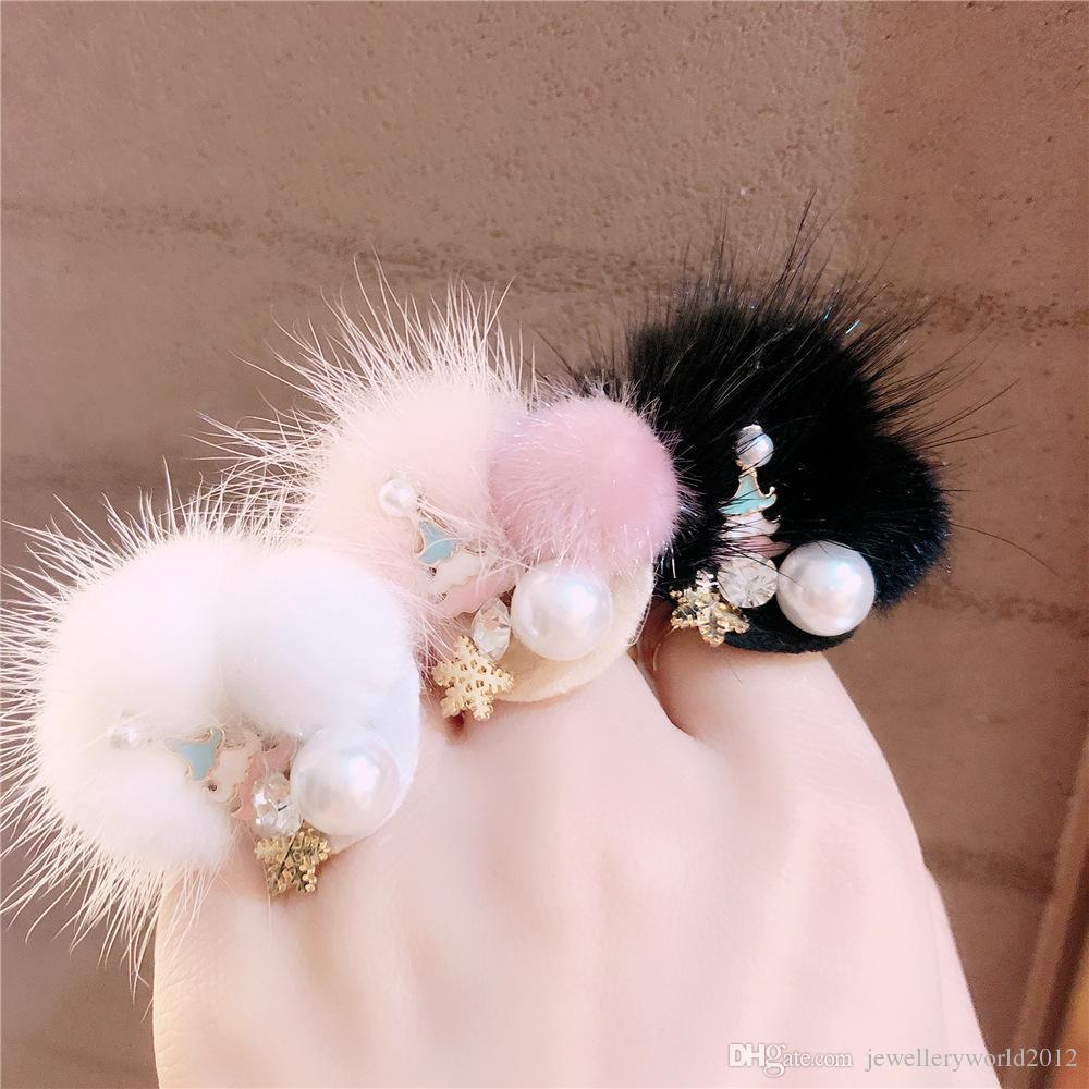 Outono e inverno novo estilo personalidade pérola anel de árvore de Natal Mink bola de pêlo floco de neve aberto anel ajustável