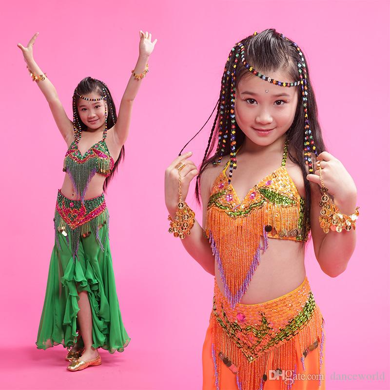 2018 Kızlar / Çocuklar / Çocuklar Hint Oryantal Dans Kostümleri 3 adet (Sutyen + Elbise + Bel Sızdırmazlık) Oryantal Dans M / L / XL Ücretsiz Kargo Kız Oryantal Giyim