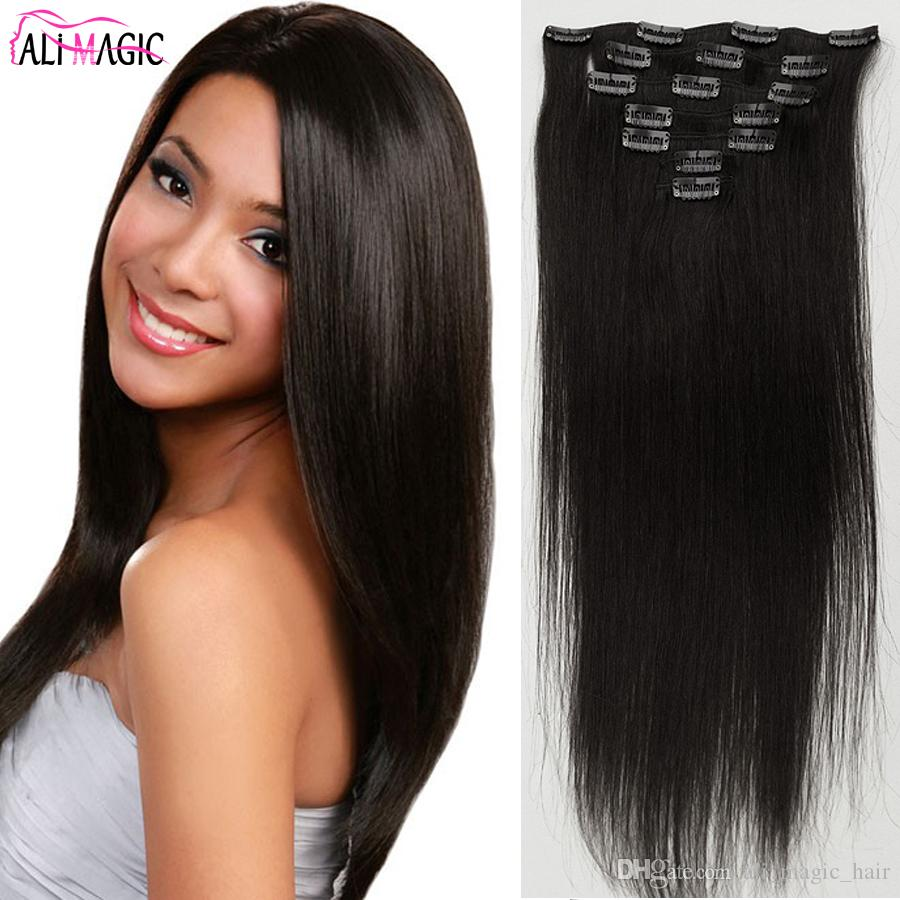 Clip Hair Pieces Double Drawn European Remy Human Hair Silky Straight Full Head Clip in Hair Extensions 7pieces 12inch-26inch Natural Color