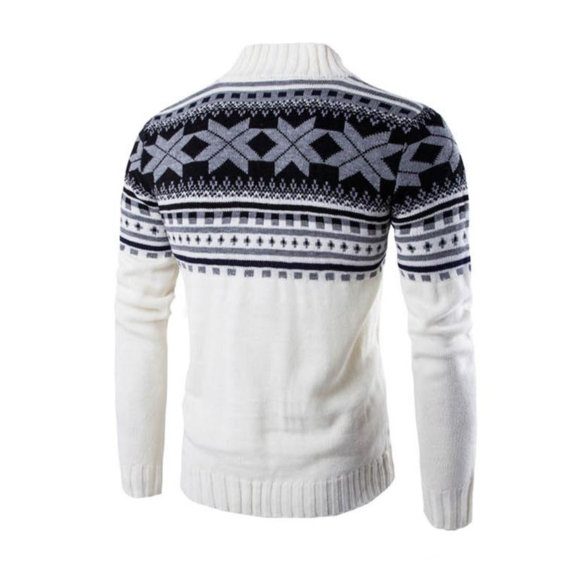 DressU Mens Autumn Winter Pullover Lapel Collar Snowflake Knit O-Neck Sweaters