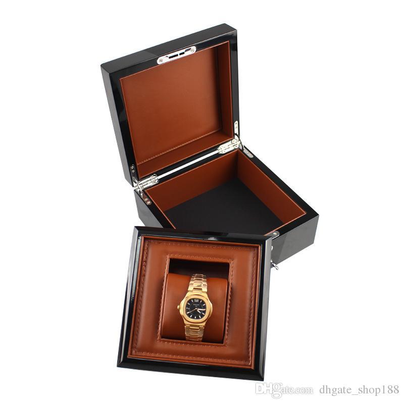 Scatola per orologi in legno senza LOGO Scatola in metallo con vernice vintage lucida Scatola regalo con cuscino in PU