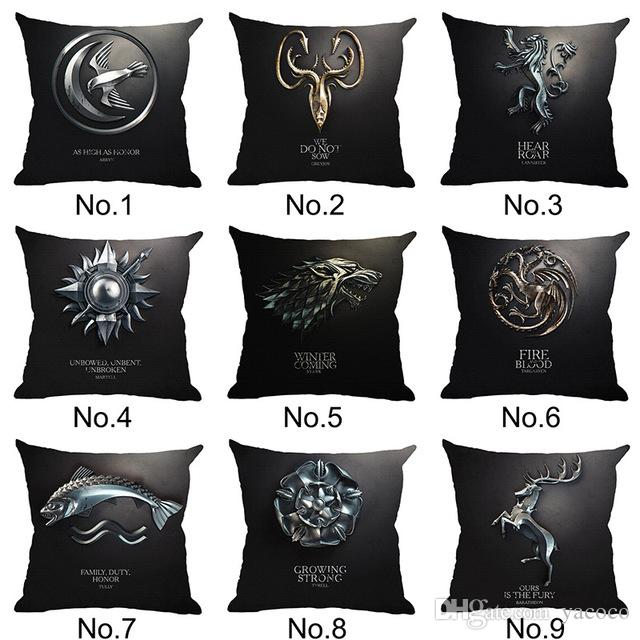 45x45cm Game of Thrones Cushion Cover Cotton Linen Chair Seat Decorative Pillowcase Square Pillow Cover Home Textile