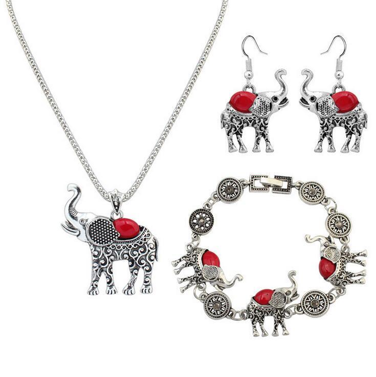 1 Set Euramerican necklace earring bracelet suit elephant pendant sweater chain women fashion accessories nice gift free ship