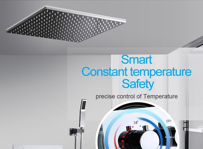 hm LED Ceiling Shower Set 20 Inch constant temperature Change Mist Rain Bathroom Shower Head Multiple Functions Shower Diverter (1)