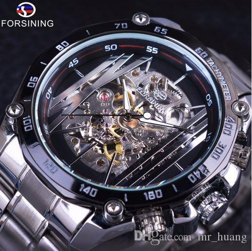 Forsining Esporte Militar Design Transparente Dial Esqueleto De Prata de Aço Inoxidável Mens Relógios Top Marca de Luxo Relógios Automáticos