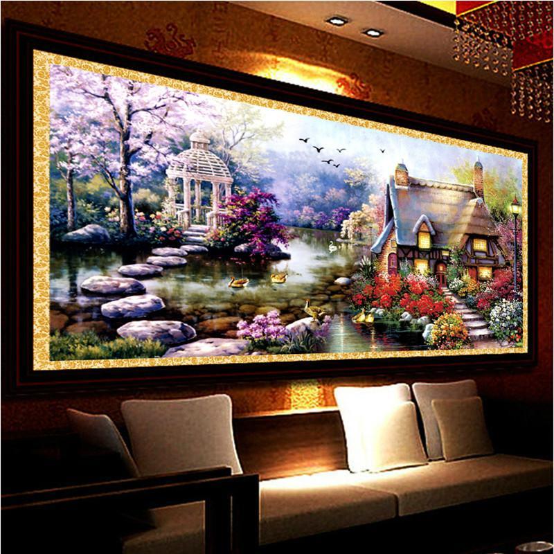 Nueva Hot Diy 5d Diamond Mosaic Landscapes Garden Lodge Full Diamond Pintura Kits de punto de Cruz Bordado de Diamantes Decoración Del Hogar