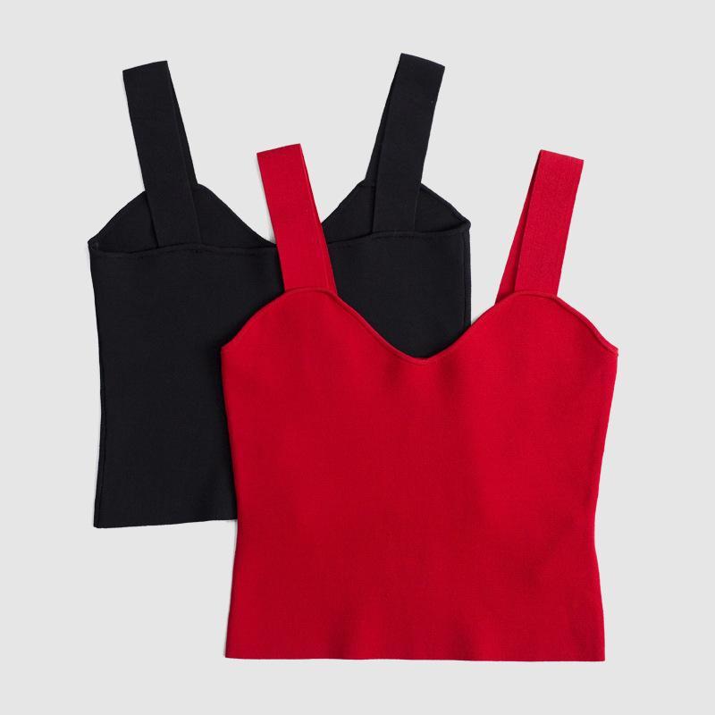 Nueva moda de verano 2018 top sin mangas de las mujeres sin mangas recortadas sexy top femme casual streewear negro rojo camiseta sin mangas bralee
