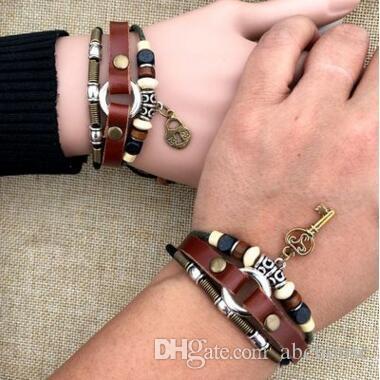 Handmade Key and Lock Cow Real Leather Bracelets for Lover Men and Women Weave Leather Bracelet Couple Bracelets Lock Key Bangle