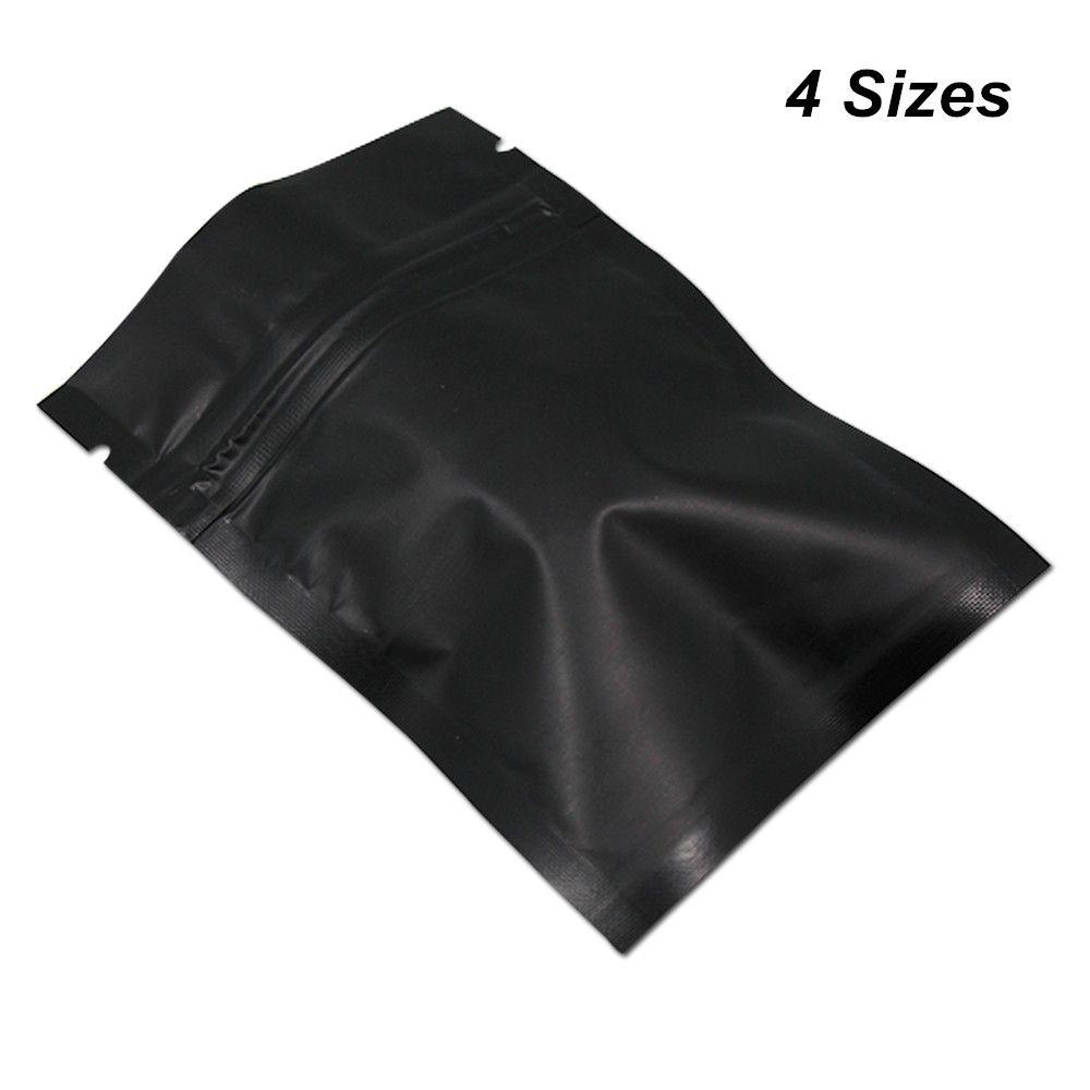 100 pezzi opaco nero richiudibile mylar con cerniera serratura alimentare sacchetti di imballaggio per stoccaggio per zip foglio di alluminio serratura borse di imballaggio odore borse a prova di odore