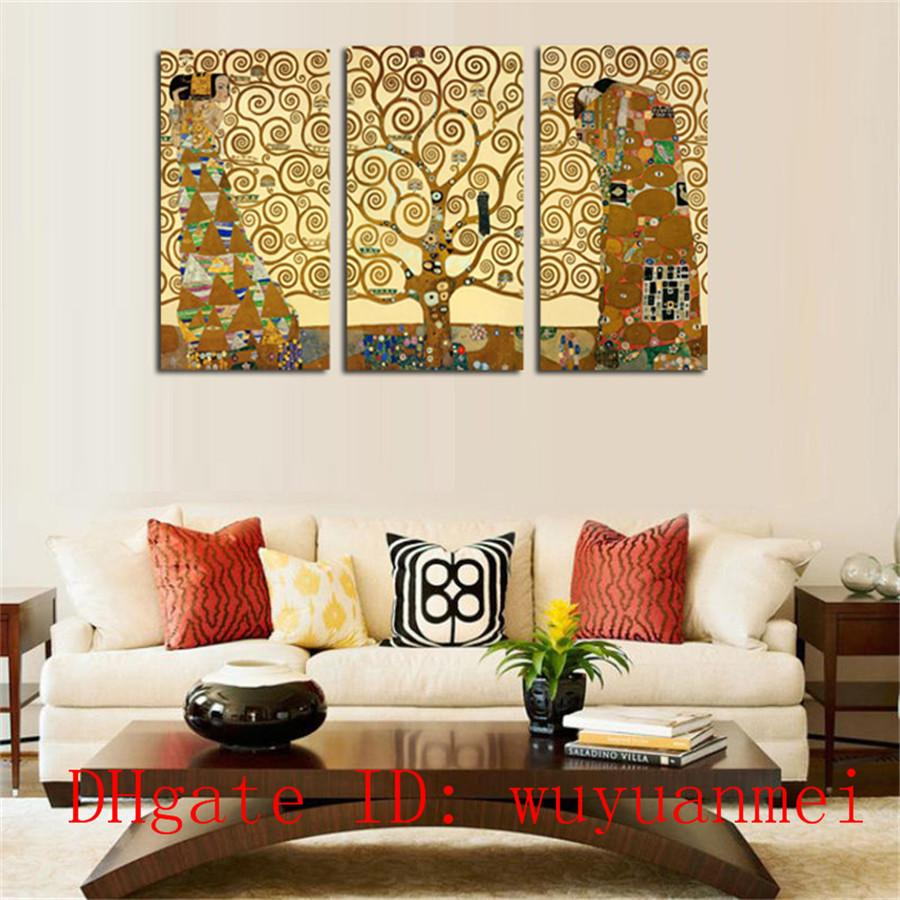 Gustav Klimt Tree , 3 Pieces Home Decor HD Printed Modern Art Painting on Canvas (Unframed/Framed)