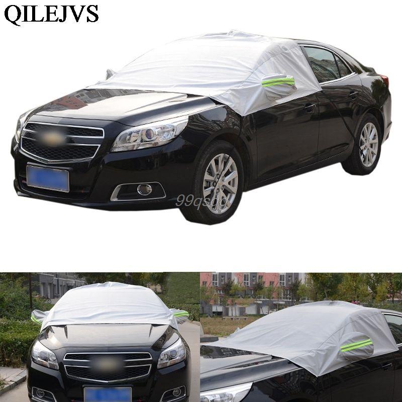 Universal Car Half Covers Sunshade Styling Foil impermeable espese coche Snow Shield Anti-UV nieve cubiertas de protección para automóviles
