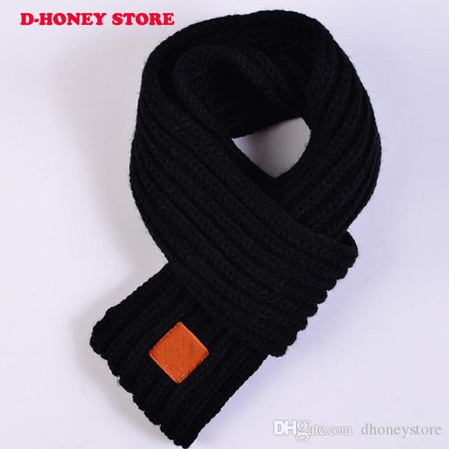 Kids Child Boys Girls Winter Solid Color Scarf Warm Knit Wool Neck Wraps Scarves