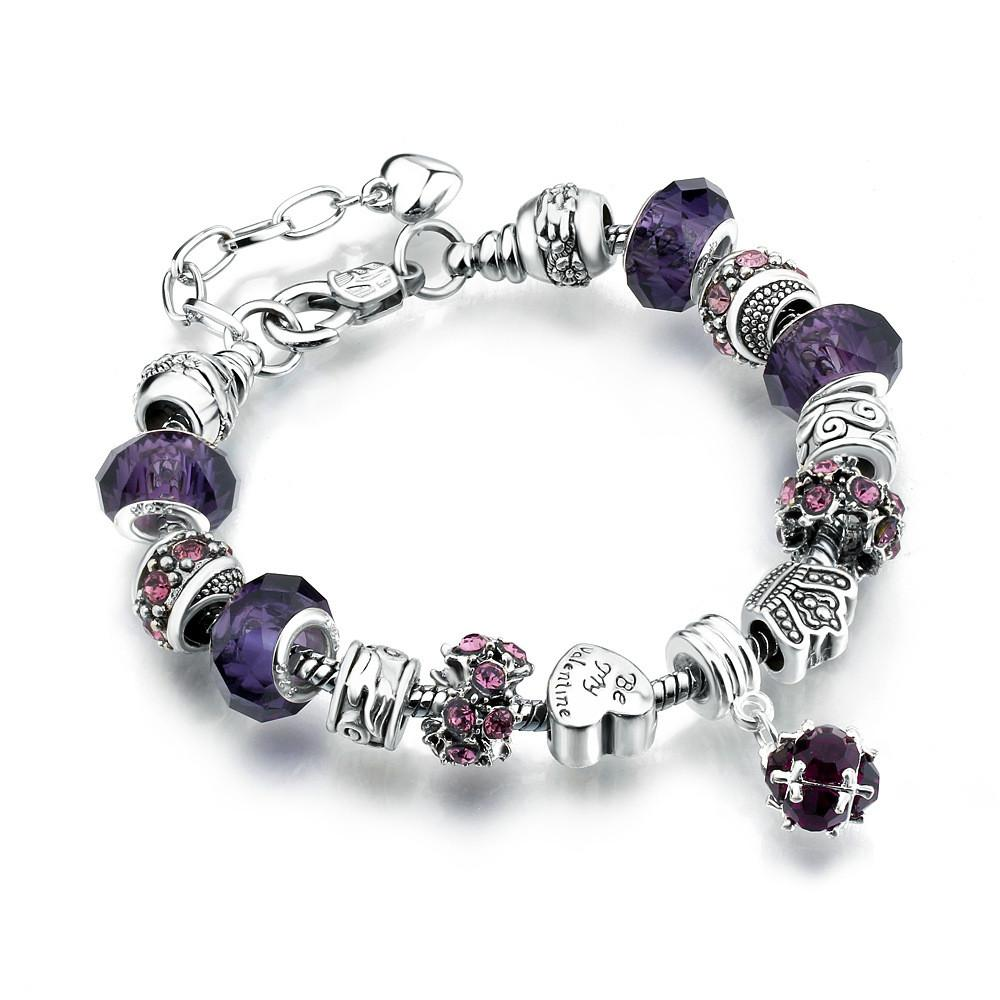 10 Colors Fashion 925 Sterling Silver Daisies Murano Glass&Crystal European Charm Beads Fits Charm Bracelets Style Bracelets
