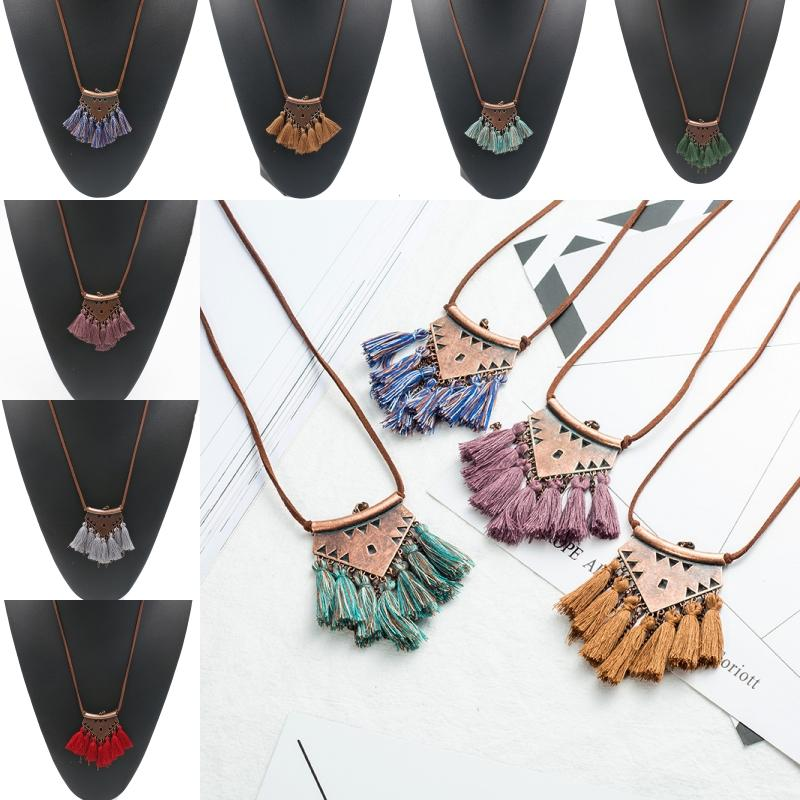 Multi Fringe Tassel Charm Long Necklace Bohemian Chic Jewelry Brown Leather Chain Pendant Tassel Necklace Pendant For Women Gifts G962R