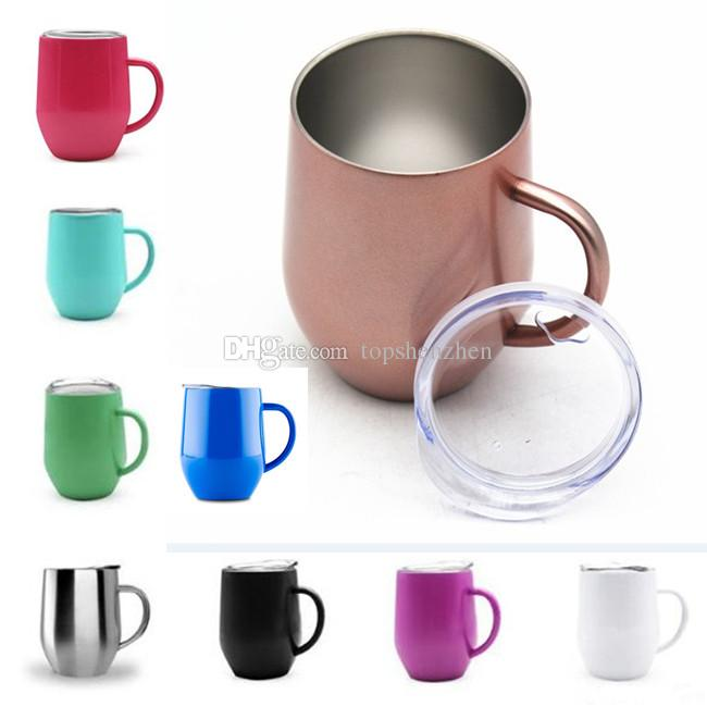 New 12oz Wine Glass Cup With Handle & Crystal Clear Lids Stainless Steel Double Wall Vacuum Insulated mugs Drink Coffee cups