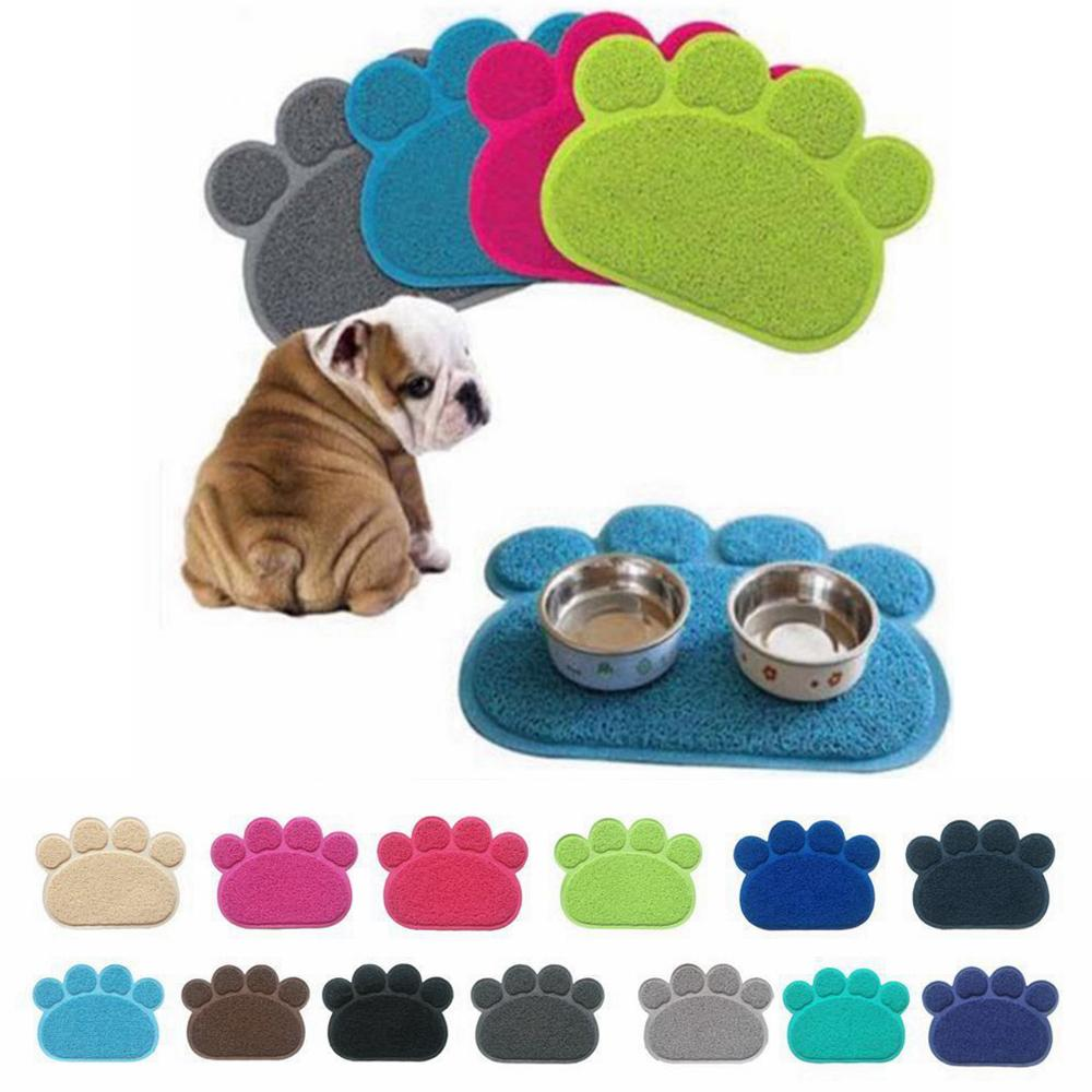 12 Renkler Köpek Yavru Paw Shape Placemat Pet Kedi Çanak Kase Besleme Gıda PVC Mat Temiz Silin AAA259