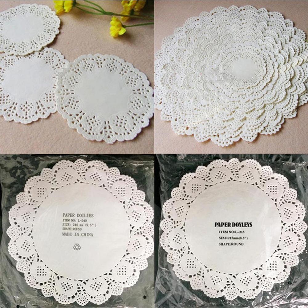 100Pcs Cute Round Lace Paper Doilies Craft Cake Placemat Wedding Birthday Prom Party DIY Decoration 11.4-26.7cm