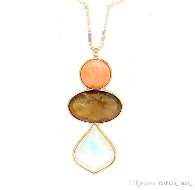 Hecho a mano Gypsophila Time Dome Piedra natural Juego de resina Metal Druzy Collares Irregularidad Colgantes Collar