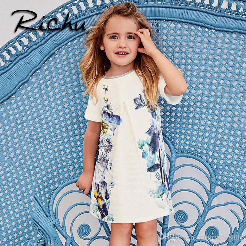 Richu baby girls clothes dress for girls short sleeve summer children dresses christmas costumes for kids pattern o neck dress mixed size