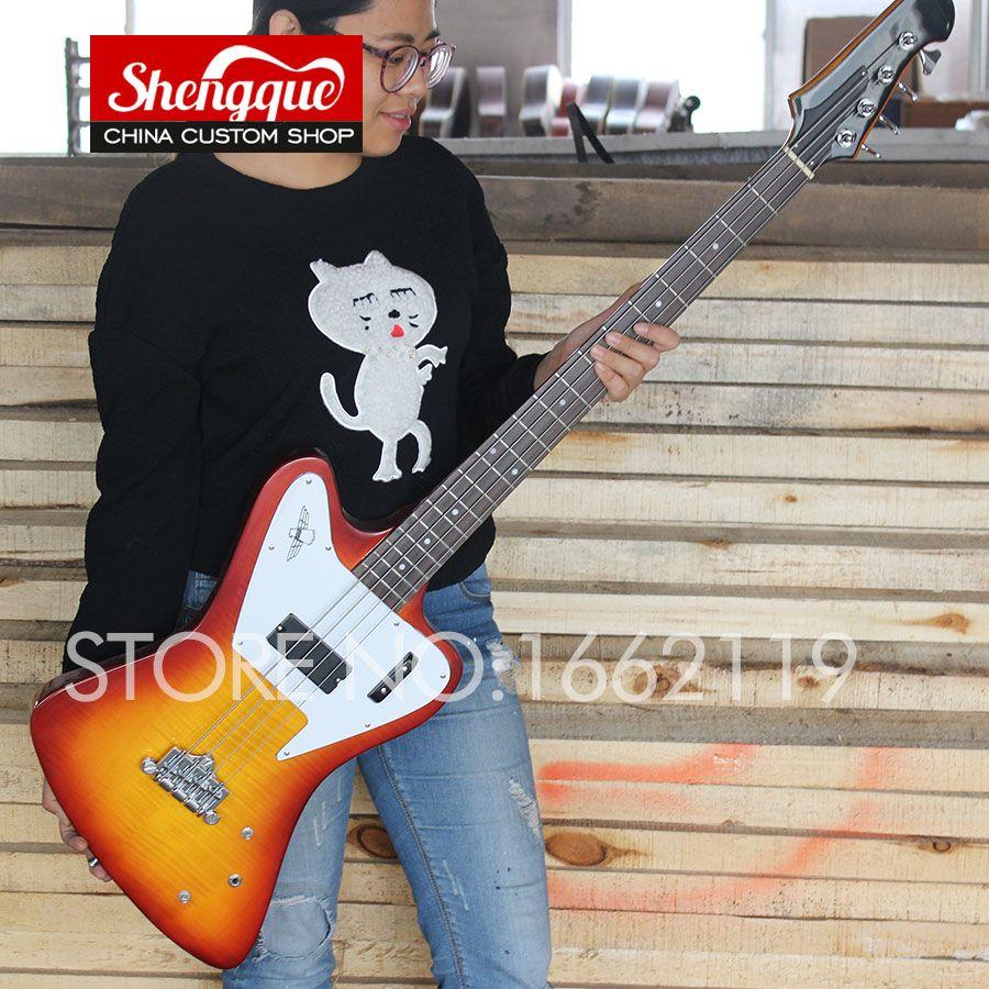 Factory custom Fire bird bass 4 strings guitar vintage sunburst Electric guitars with rosewood fingerboard musical instruments shop