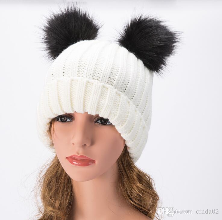 Cute Winter Women Warm Hat Knitted Wool Girl Boy Hemming Crochet Ski Cap