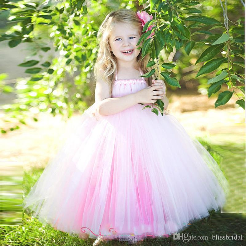Spaghetti Pink Tulle Flower Girl Dress with Ribbon Cute Little Girls Formal Dresses Birthday Party Gown Zipper Back Free Ship Cheap