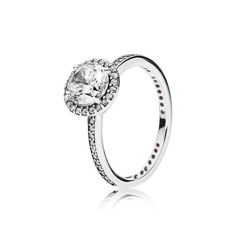 Reale 925 Sterling Silver CZ Anello di diamante con il cofanetto originale stile PANDORA monili fede nuziale fidanzamento per le donne Ragazze