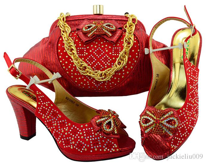 Gorgeous red lady pumps african bowtie shoes match handbag set with rhinestones for dress MM1062,heel 8.5CM