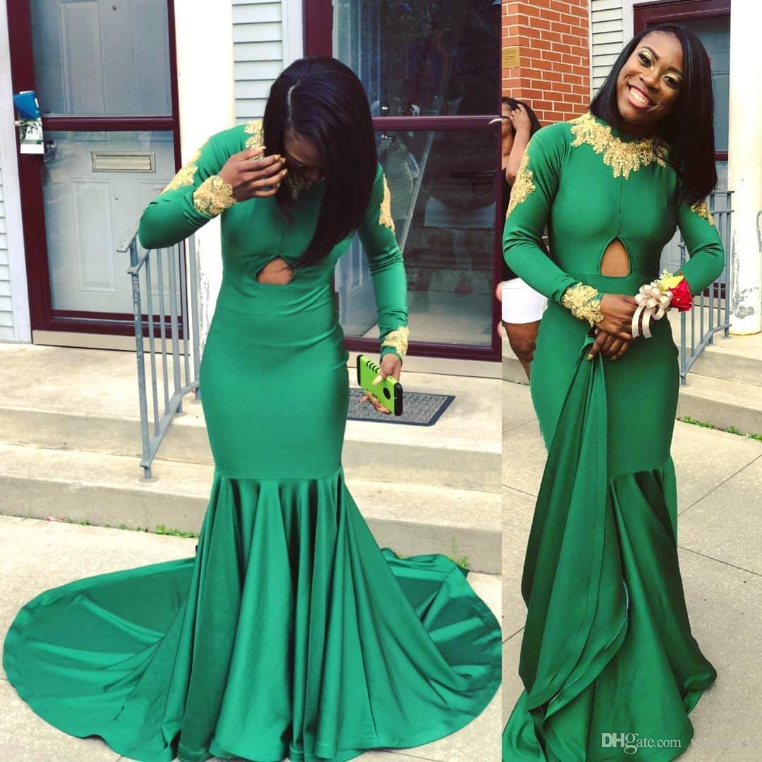 Emerald Green Prom Dresses Gold Appliques For Black Girls Couple Day Evening Party Gowns Mermaid High Neck Sweep Train Vestidos de fiesta