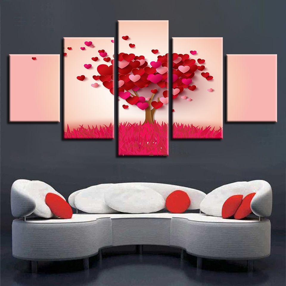 Acquista HD Stampato Stampe Moderne Paesaggio 5 Pezzi Cuore Rosso Alberi  Pittura Immagini Soggiorno Arte Modulare Tela Decorazione Della Parete Di  ...