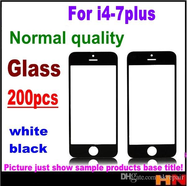 200pcs DHL normal quality LCD Front Touch Screen Glass Outer Lens for iphone 4 4s 5s 5 6 7 plus Black White SPSR