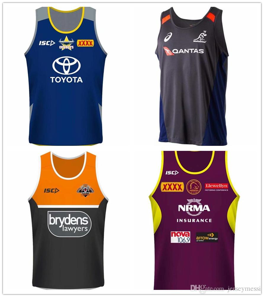 jerseys de los vaqueros chaleco tigres Brisbane Mustangs Fiji Nueva Zelanda equipo de fútbol del jersey de la Liga Nacional de NRL NRL Jersey singlete shi