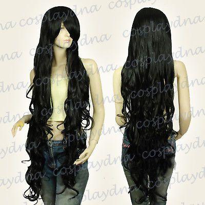 Бесплатно shippingKanekalon серии Черный вьющиеся волнистые длинные косплей ДНК парики
