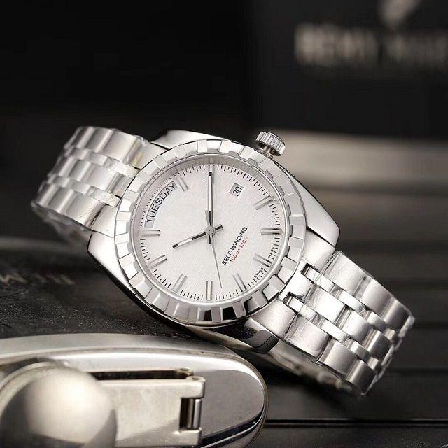 Relógio mecânico clássico de moda! Dos homens favoritos, três pinos de aço inoxidável relógio à prova d'água de prata, movimento de alta qualidade! Varejo e Inteiro