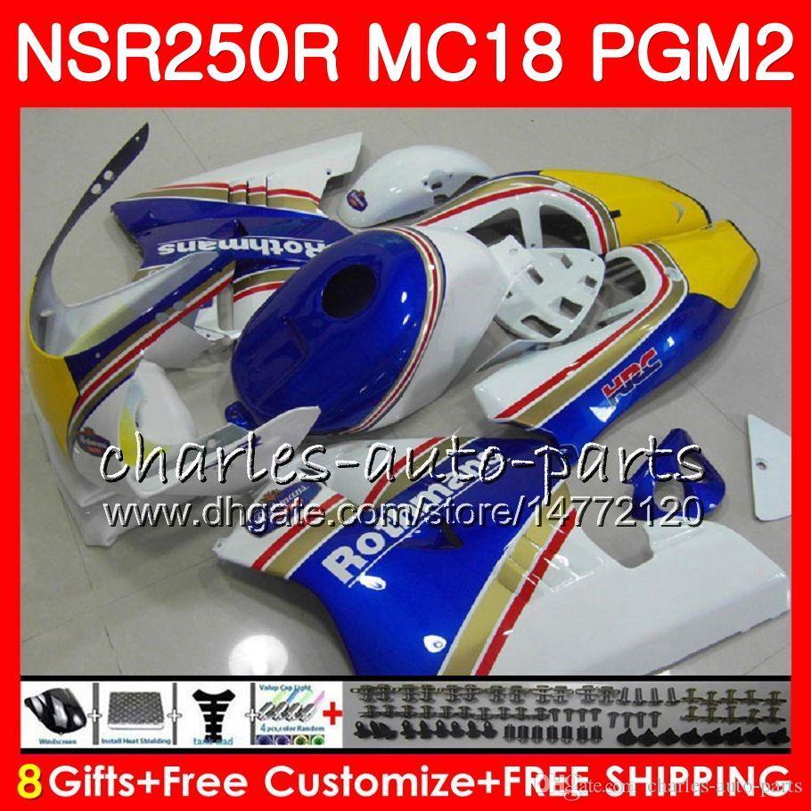 Körper für HONDA NSR 250 R MC18 PGM2 NSR 250R NS250 NSR250R 88 89 78HM.0 MC16 NSR250 R RR NSR250RR 1988 1989 88 89 Verkleidungskit Rothmans Blau