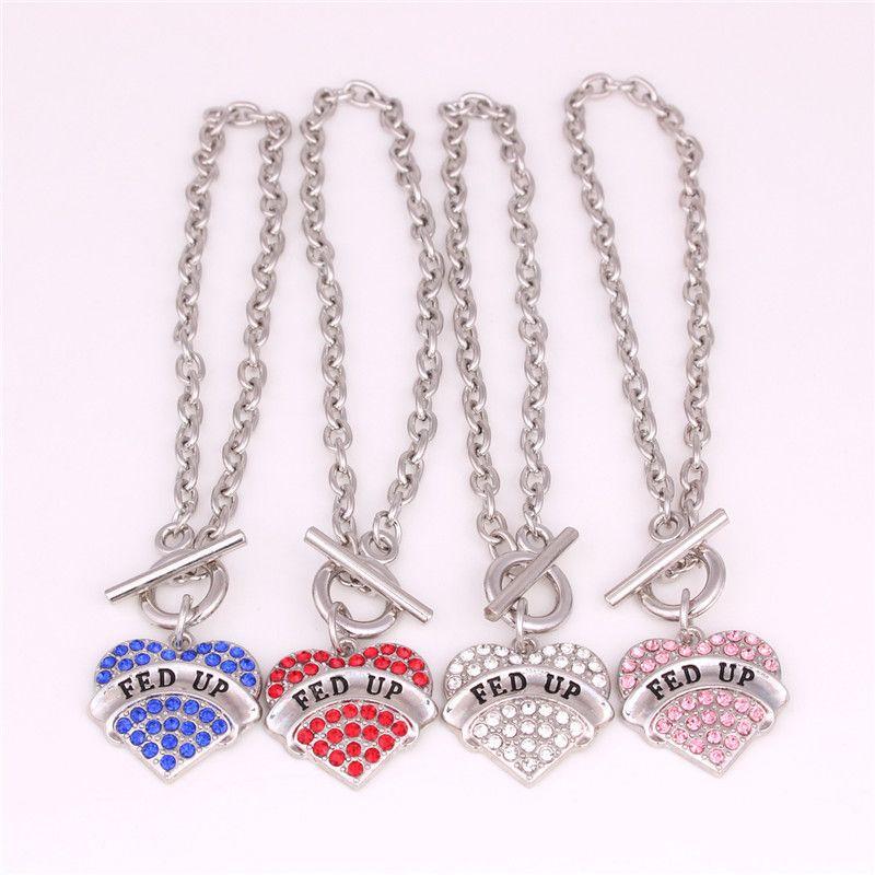 Women Charm Bracelet Best Sale Heart Pendant FED UP Written Personality Jewelry Zinc Alloy Material Provide Dropshipping