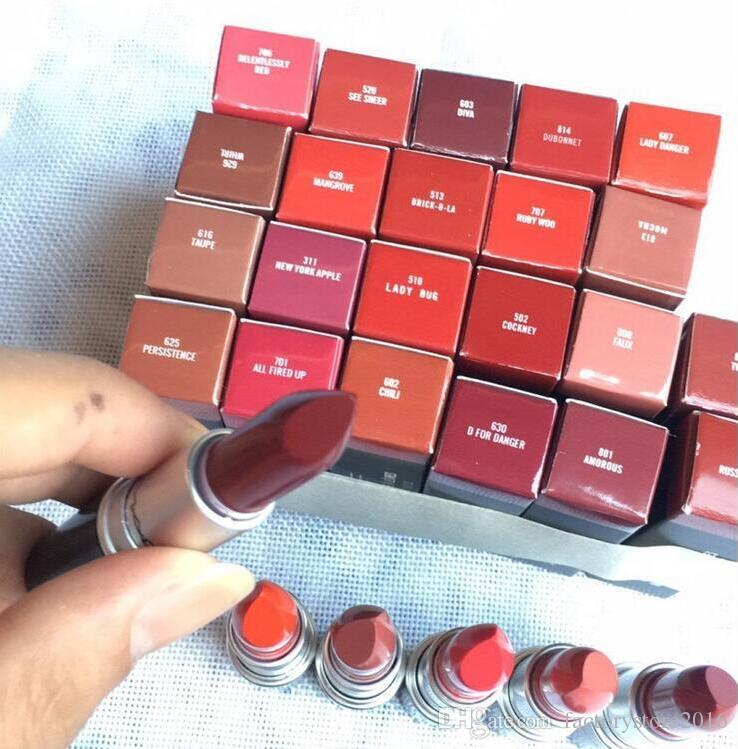 Rouge A Levres Aluminum Tube Matte Lipstick Lustre 29 Colors Lipsticks with Series Number Brand Name Russian Red Top Quality