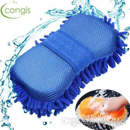 Congis 1PC Car Wash Double-sided Waterproof Chenille Gloves Magic Clean Sponge Cloth Washing Car Cleaning Tools