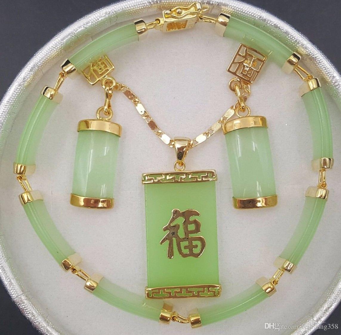 Natürliche grüne Jade 18KWGP Fortune Anhänger Halskette Drop Ohrring Armband gesetzt