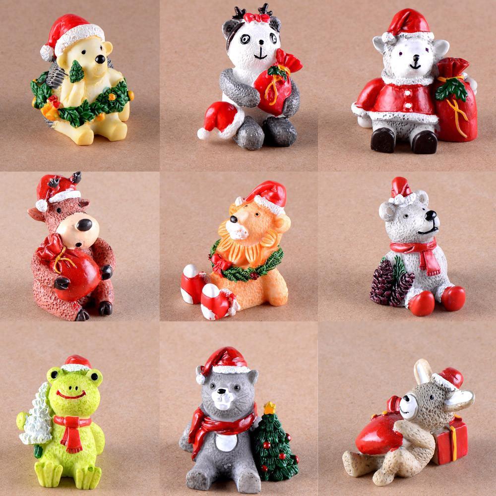 Miniature Christmas Ornaments.Christmas Resin Miniature Christmas Animals Diy Craft Accessory Cute Animal Crafts Ornaments Home Christmas Decoration For Home Christmas Ornaments