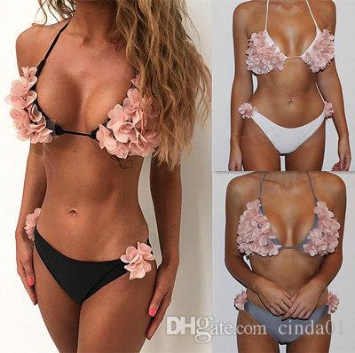 الصيف شاطئ بيكيني مجموعة 3d الأزهار تصميم ملابس السباحة للإناث الرسن الرقبة المايوه بحر مثير سيدة سويسويت البرازيلي بيكيني