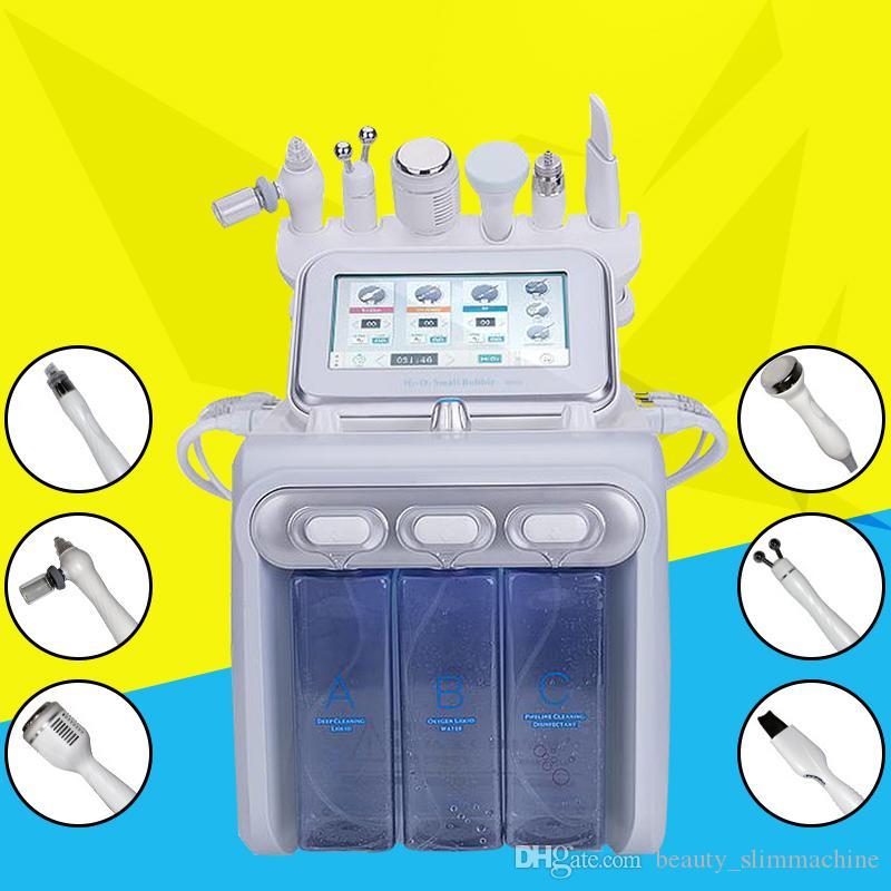 Новая технология 6in1 гидра воды водопода microdermabrasion кислорода лицевая машина био подъема кожи холодный молоток RF удаления морщинки CE