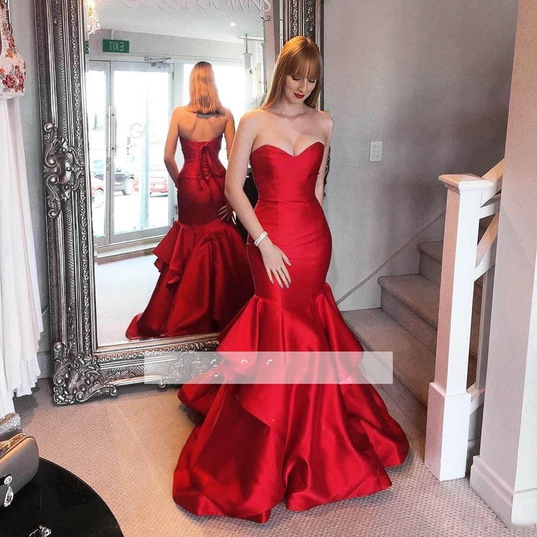 2018 Örgün Mermaid Kırmızı Gelinlik Modelleri Uzun Sevgiliye Backless Ruffles Akşam Gonws Lace Up Parti Elbise Kadınlar için